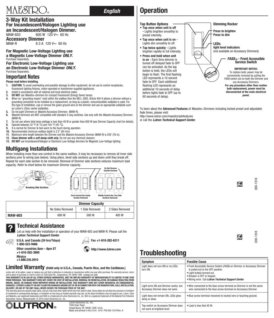 Maestro 3 Way Kit Installation Sheet
