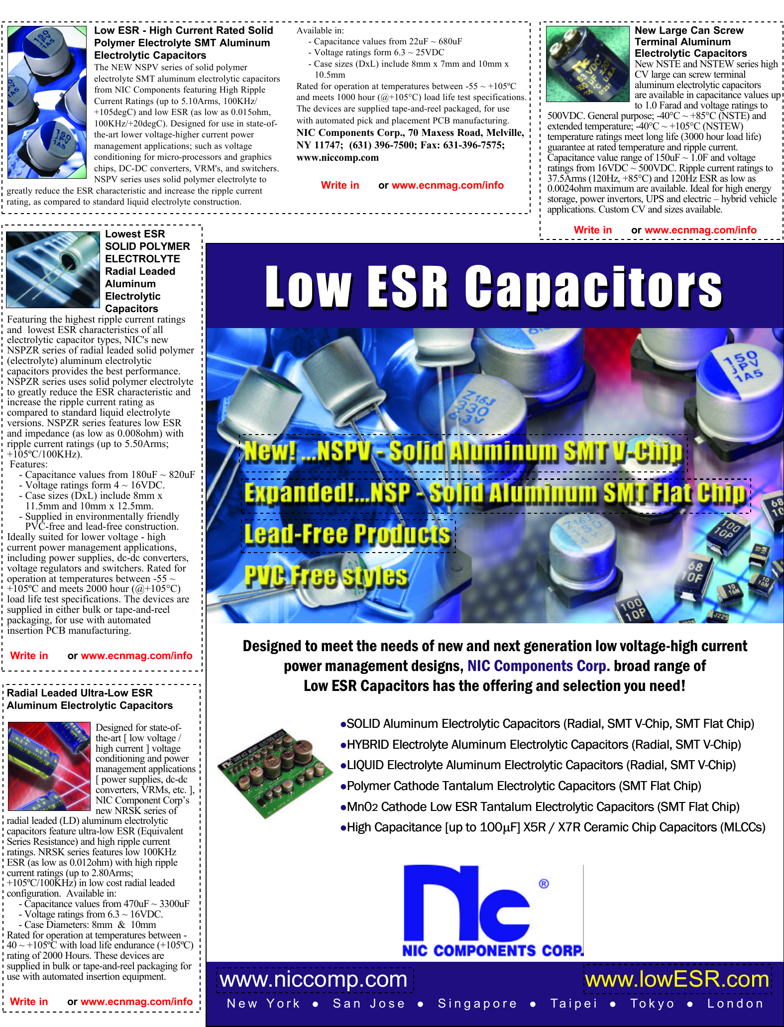 Low ESR Capacitors