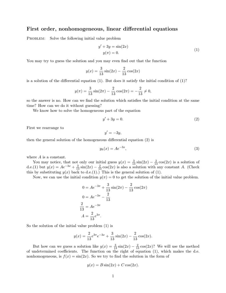 First order, nonhomogeneous, linear differential equations