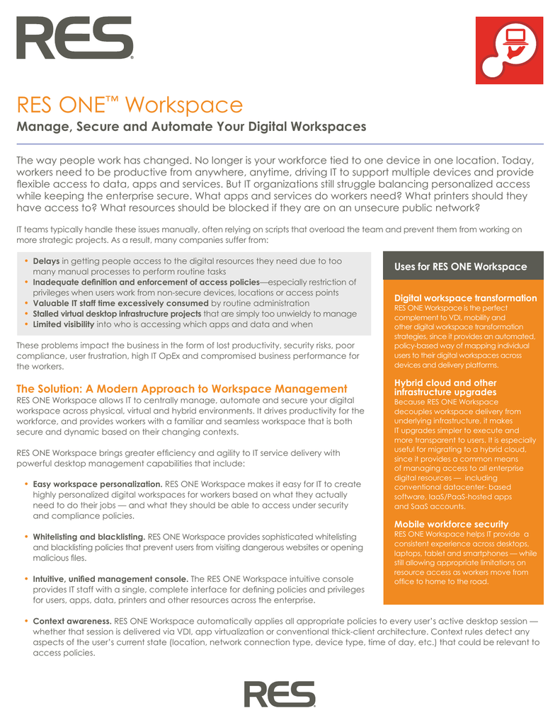 Brochure: RES ONE Workspace