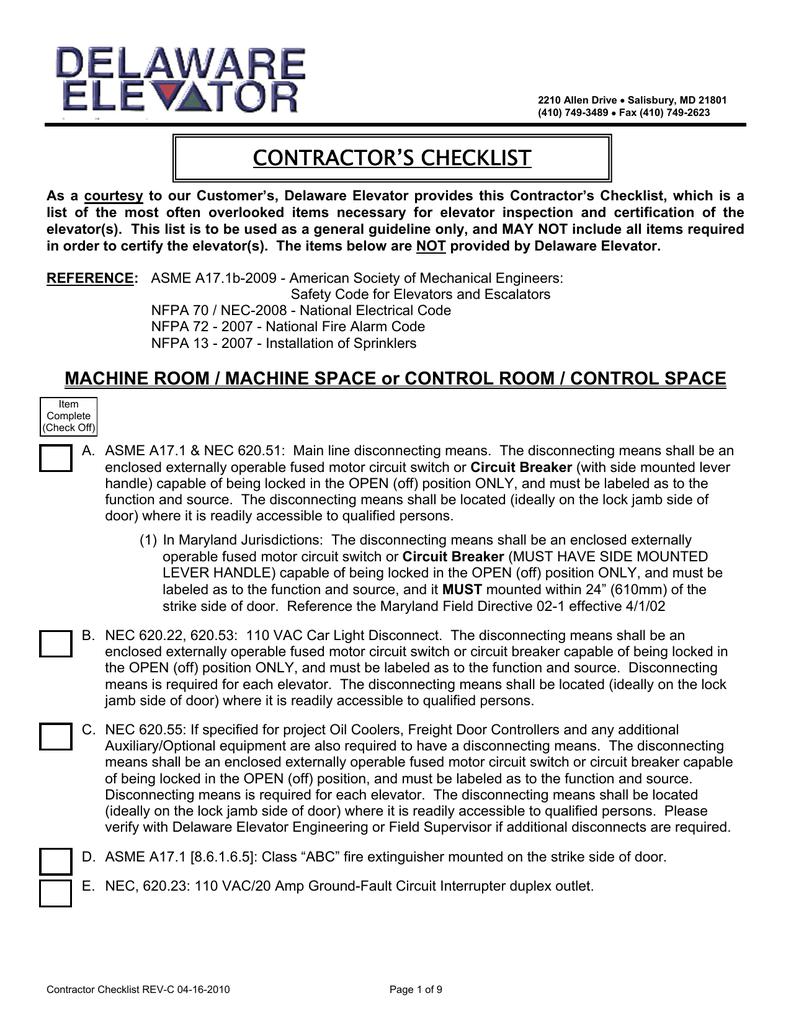 Contractors Checklist Elevator Recall Wiring Diagram