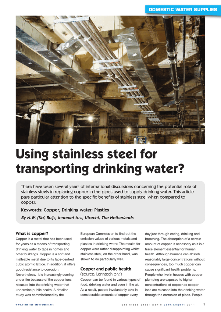 Using stainless steel for transporting drinking water?