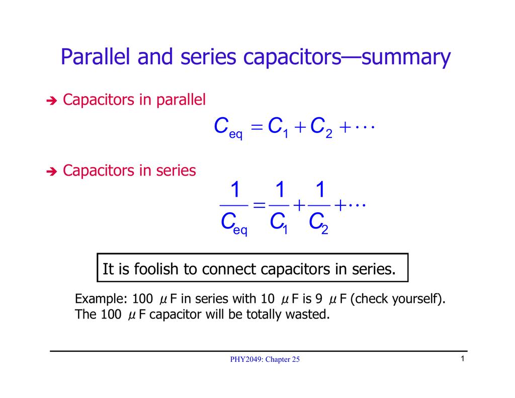Stupendous 111 Cc C Parallel And Series Capacitorssummary Wiring Digital Resources Inamasemecshebarightsorg