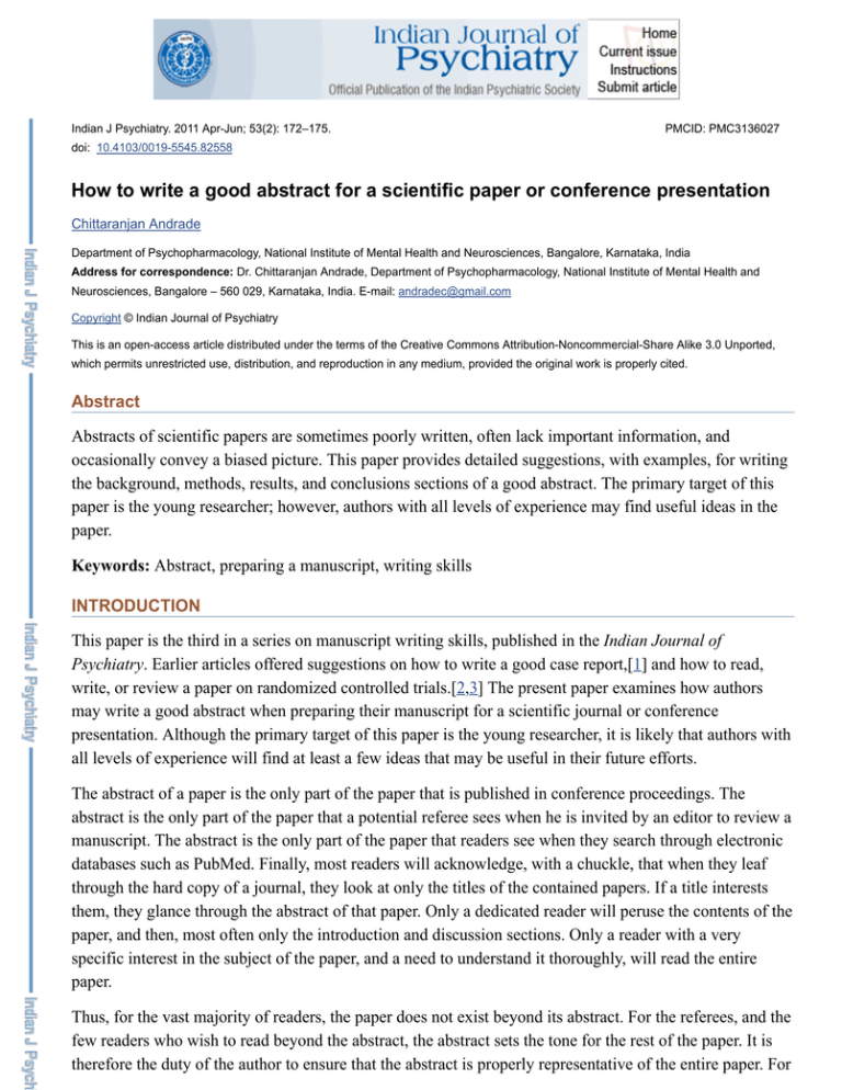 how to write a good abstract for a scientific paper