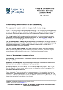 Further information on safe storage of chemicals in the laboratory