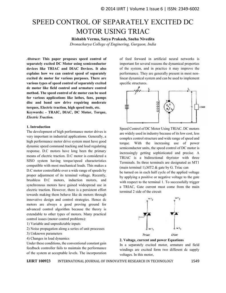 Dc Motor Triac Control Circuit Page 2 Other Circuits Nextgr Sd Of Separately Excited Using
