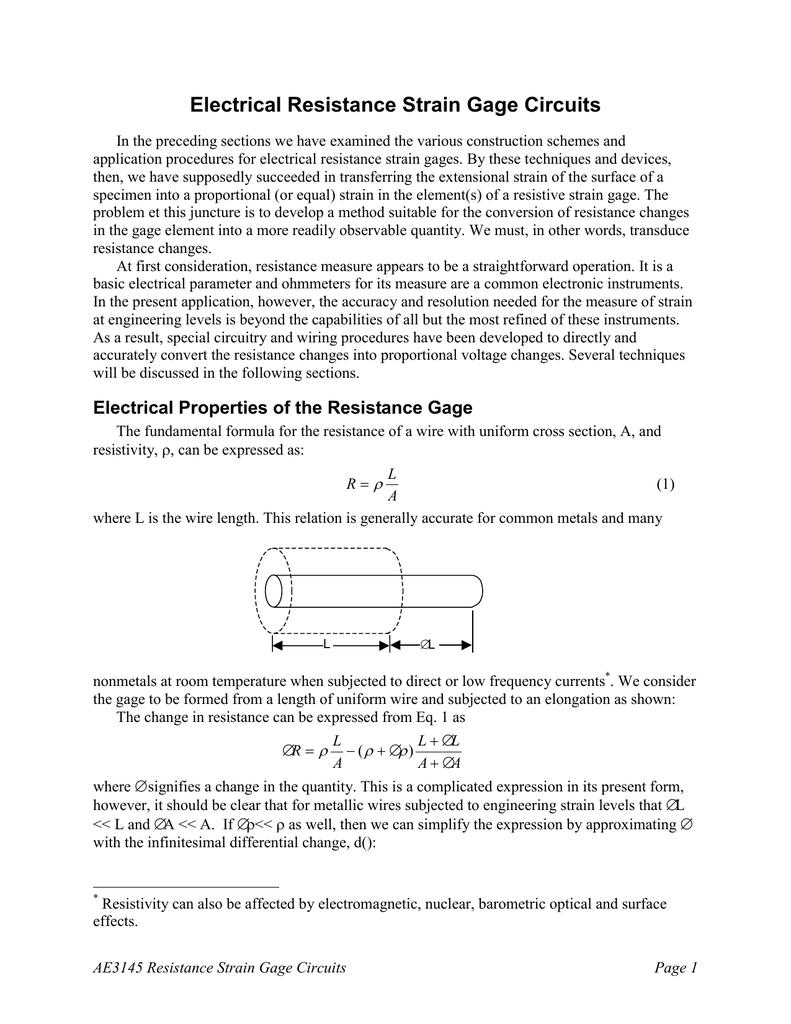 electrical resistance strain gage circuits rh studylib net