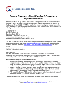 General Statement of Lead Free/RoHS Compliance Migration
