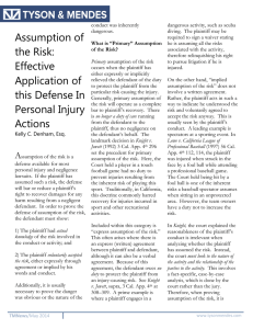 Assumption of the Risk: Effective Application of