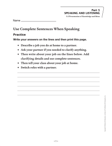 Use Complete Sentences When Speaking - Macmillan/McGraw-Hill