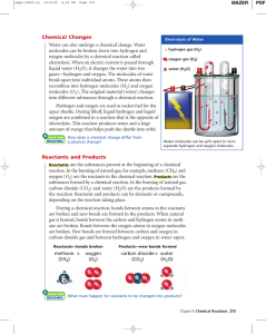 Chemical Changes Reactants and Products