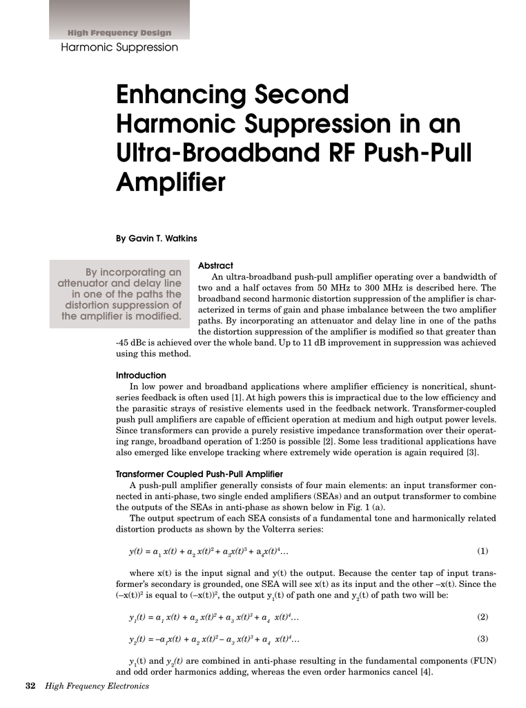 Enhancing Second Harmonic Suppression in an Ultra