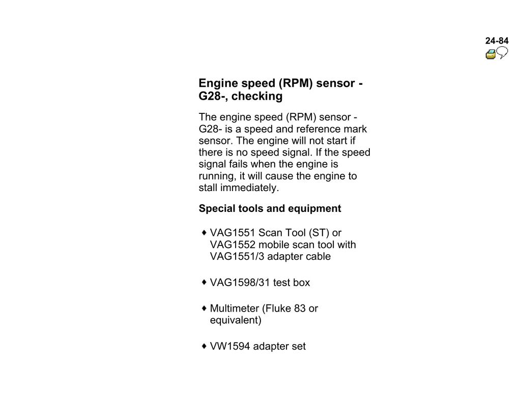 Engine speed (RPM) sensor - G28