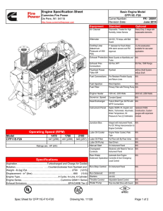 Engine Specification Sheet Operating Speed (RPM) Specifications