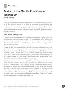Metric of the Month: First Contact Resolution