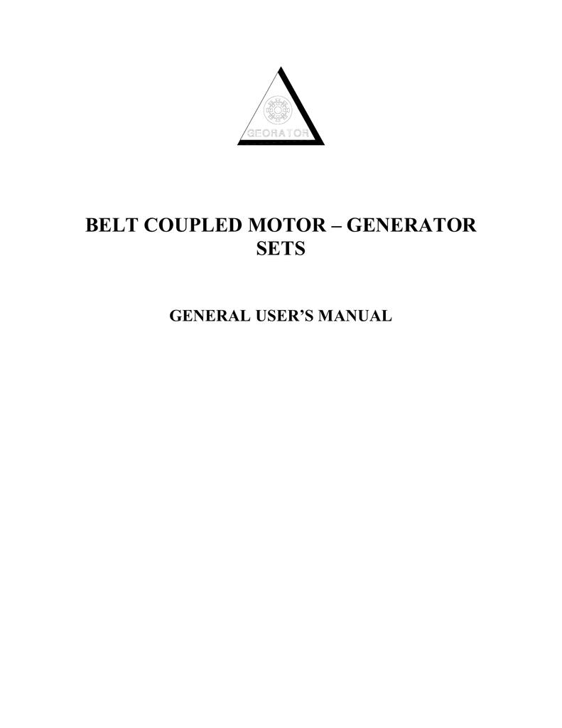 Belt Coupled Motor Generator Sets Zig Zag Wiring Diagram