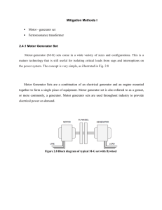 Mitigation Methods I • Motor - generator set