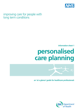 Information sheet 1 | Personalised care planning