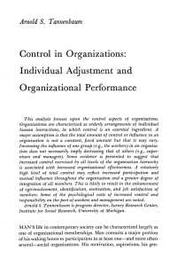 Control in Organizations: Individual Adjustment and Organizational