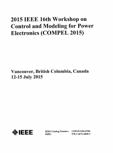 2015 IEEE 16th Workshop on Control and Modeling for Power