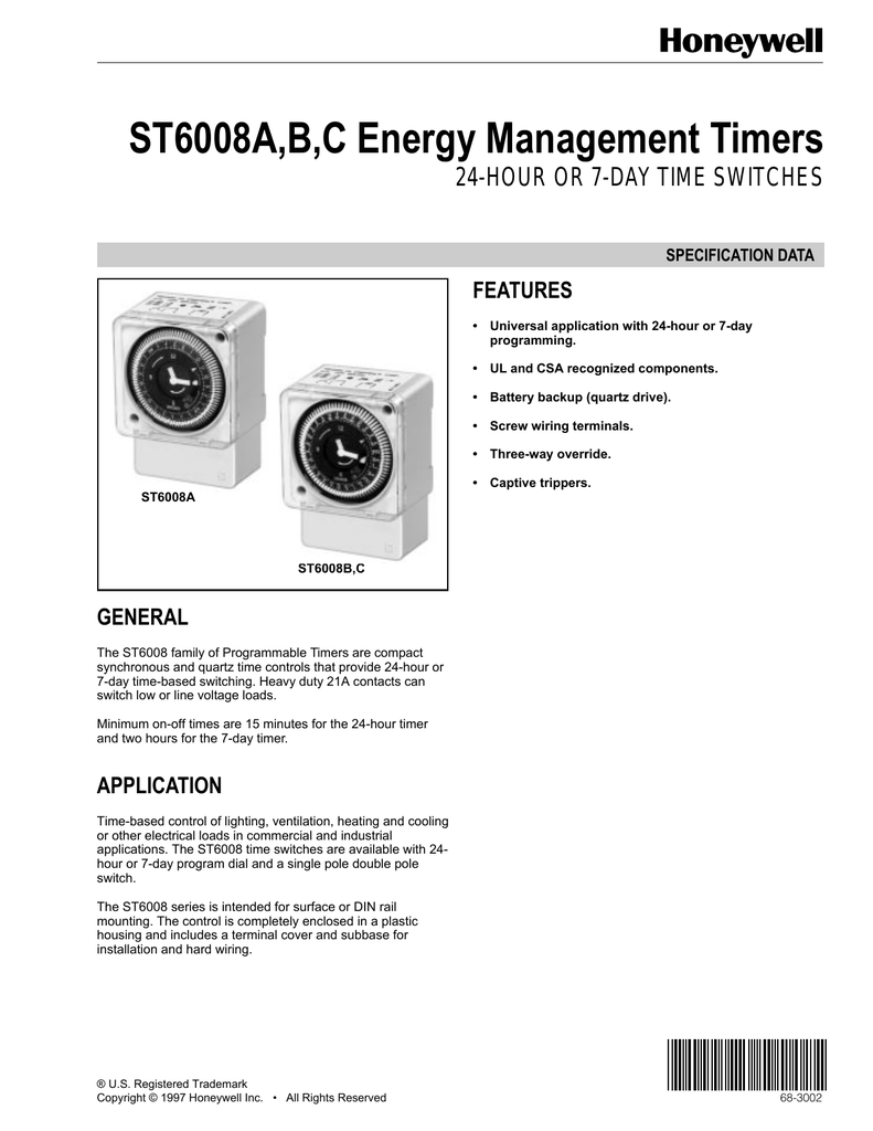 68 3002 St6008ab C Energy Management Timers Three Hour Timer