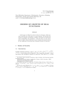 orders of growth of real functions