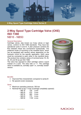 2-Way Spool Type Cartridge Valve (CKE) ISO 7368 NB16