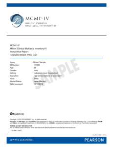 MCMI-IV Sample Interpretive Report Male