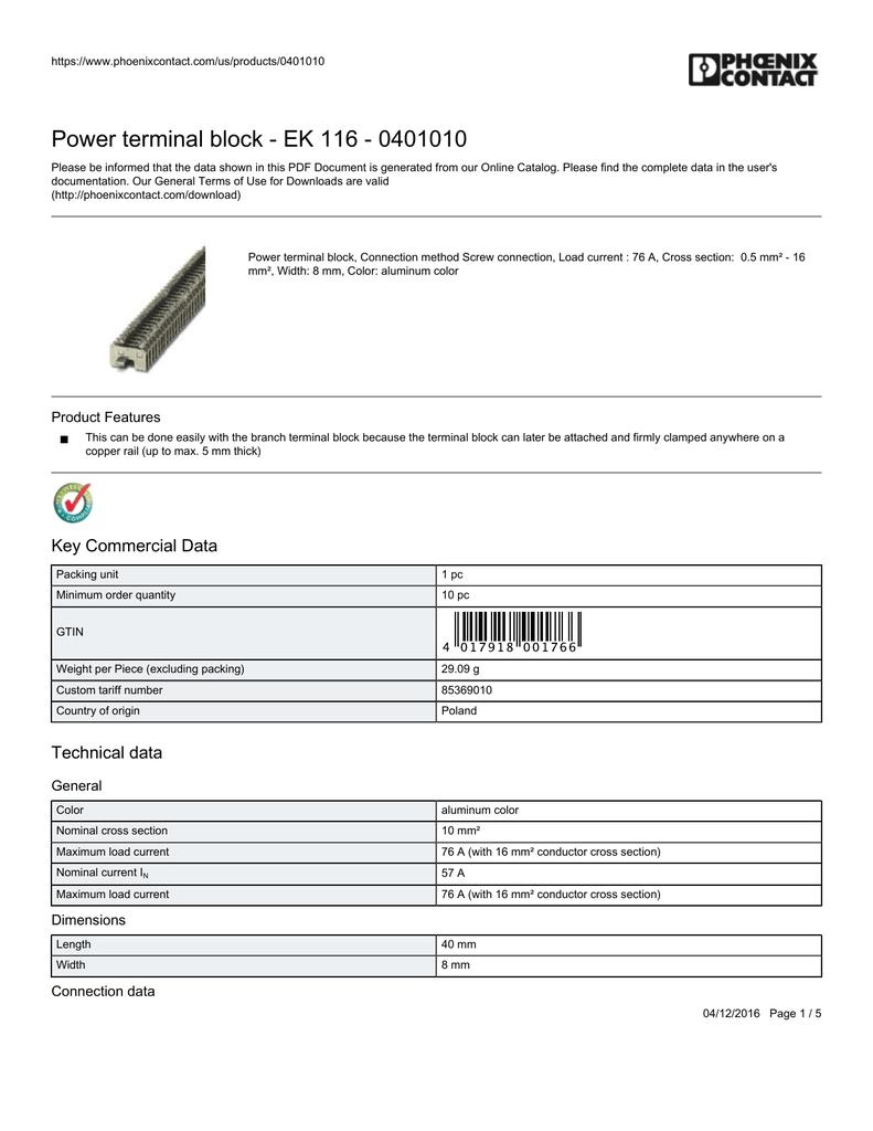 0401010 Datasheet - Mouser Electronics