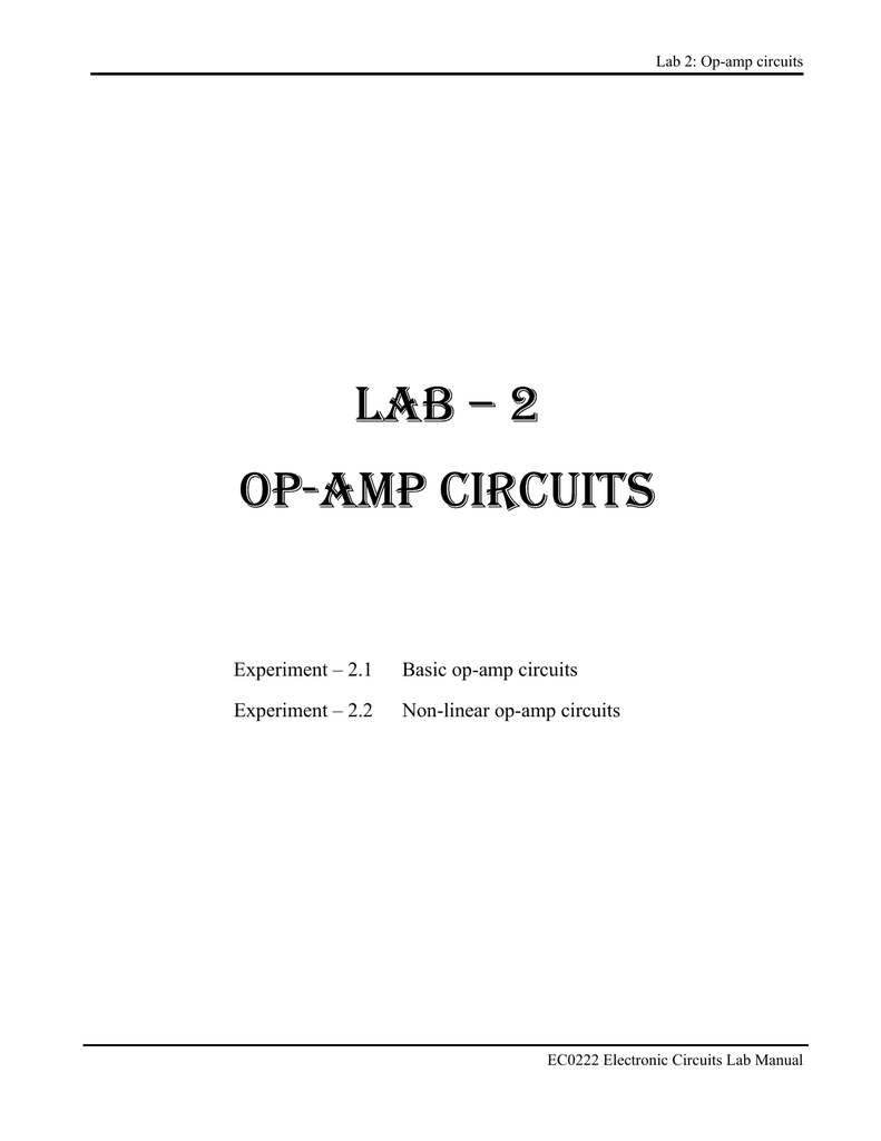 lab 2 op amp circuits rh studylib net op amp comparator lab manual operational amplifier lab manual