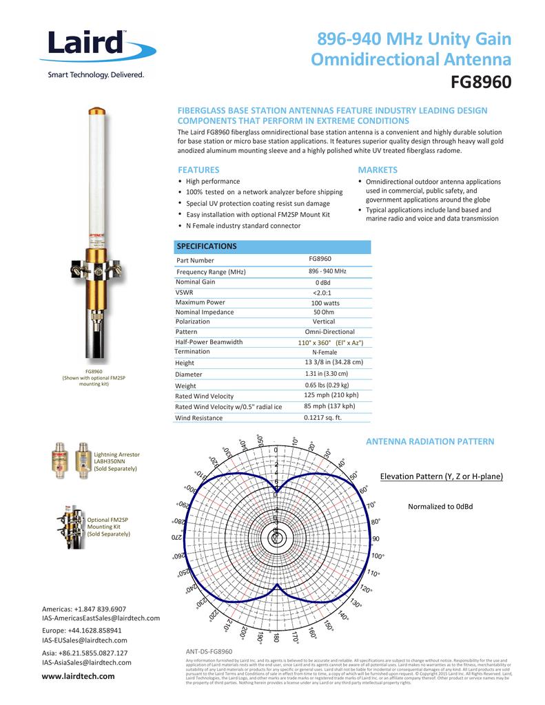 896-940 MHz Unity Gain Omnidirectional Antenna FG8960