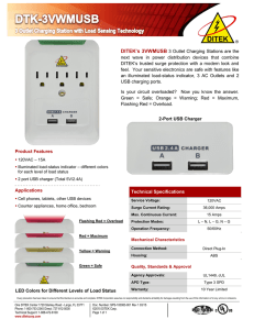 Technical Specifications DITEK`s 3VWMUSB 3 Outlet Charging