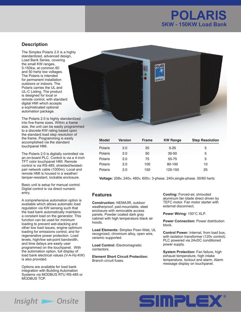 Simplex 5KW-150KW Polaris Load Bank Sales Brochure
