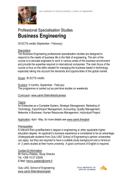 Professional Specialisation Studies in Business Engineering