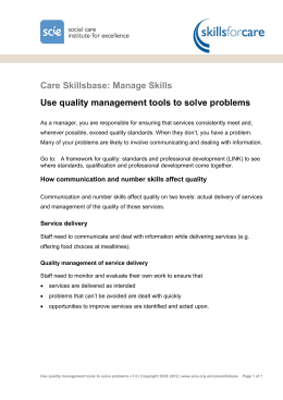Use quality management tools to solve problems