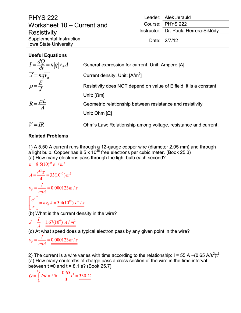 Phys 222 worksheet 10 current and resistivity answers greentooth Gallery