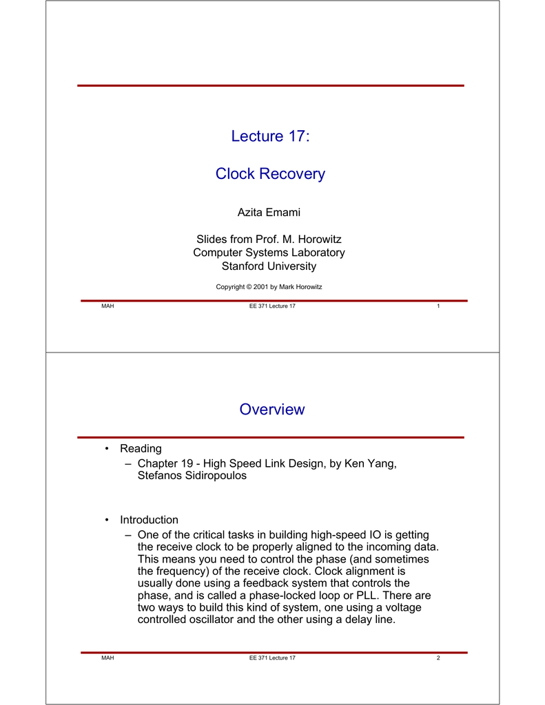 Lecture 17 Clock Recovery Overview Feedforward Noise Cancellation Rejects Supply Ee Times