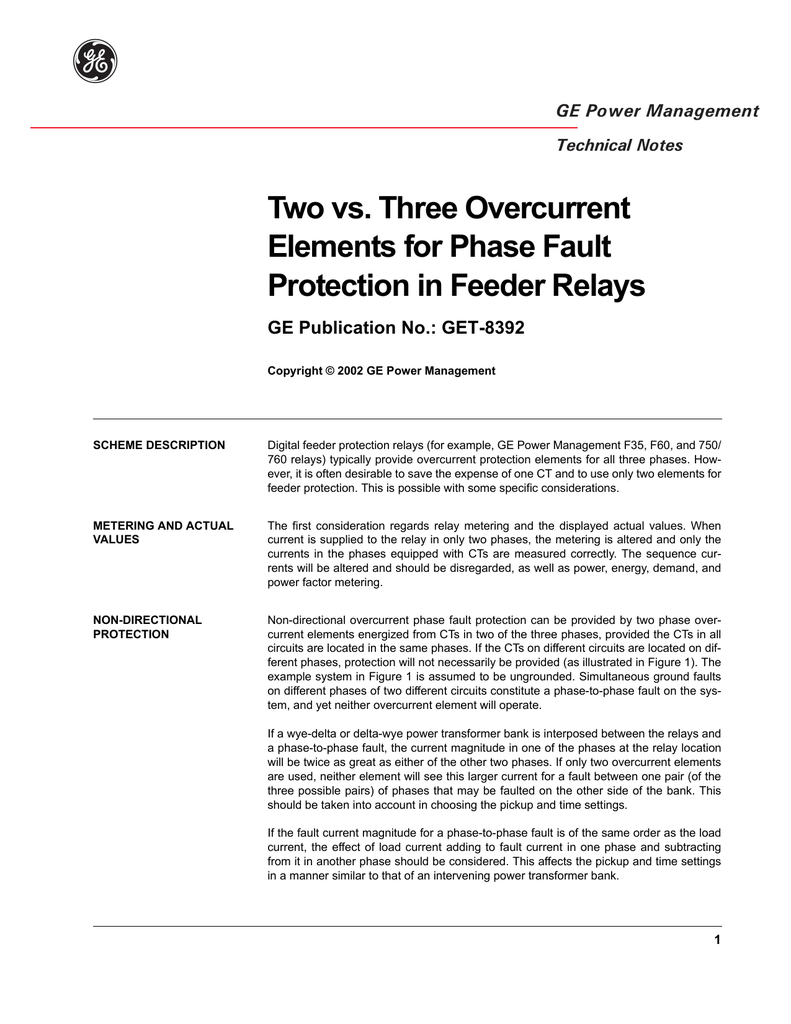 Two vs  Three Overcurrent Elements for Phase Fault Protection in
