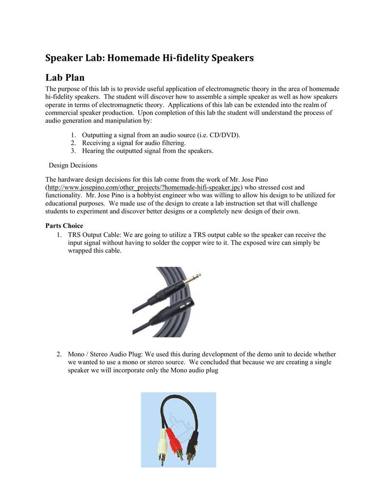 Speaker Lab: Homemade Hi-fidelity Speakers Lab Plan