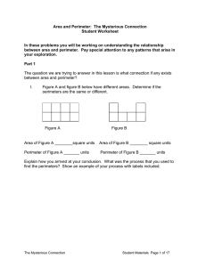 Area and Perimeter: The Mysterious Connection Student Worksheet