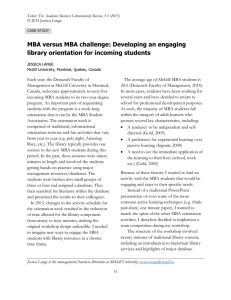 MBA versus MBA challenge: Developing an engaging library
