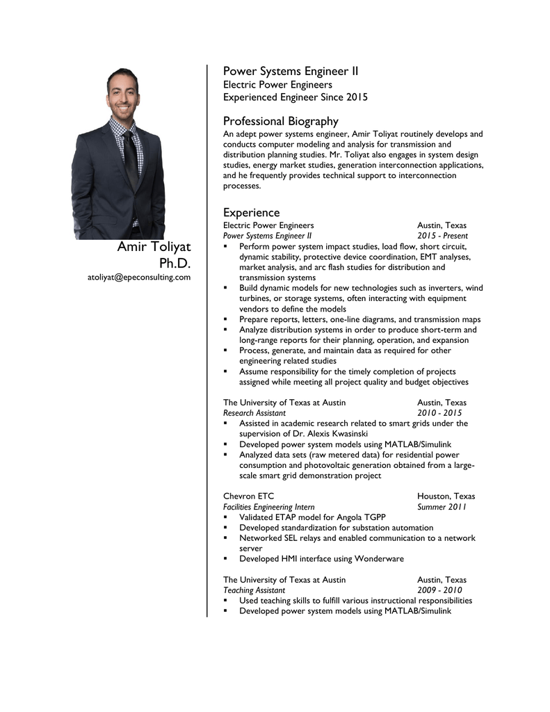 Resume - Electric Power Engineers