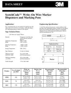 DATA SHEET ScotchCode™ Write–On Wire Marker