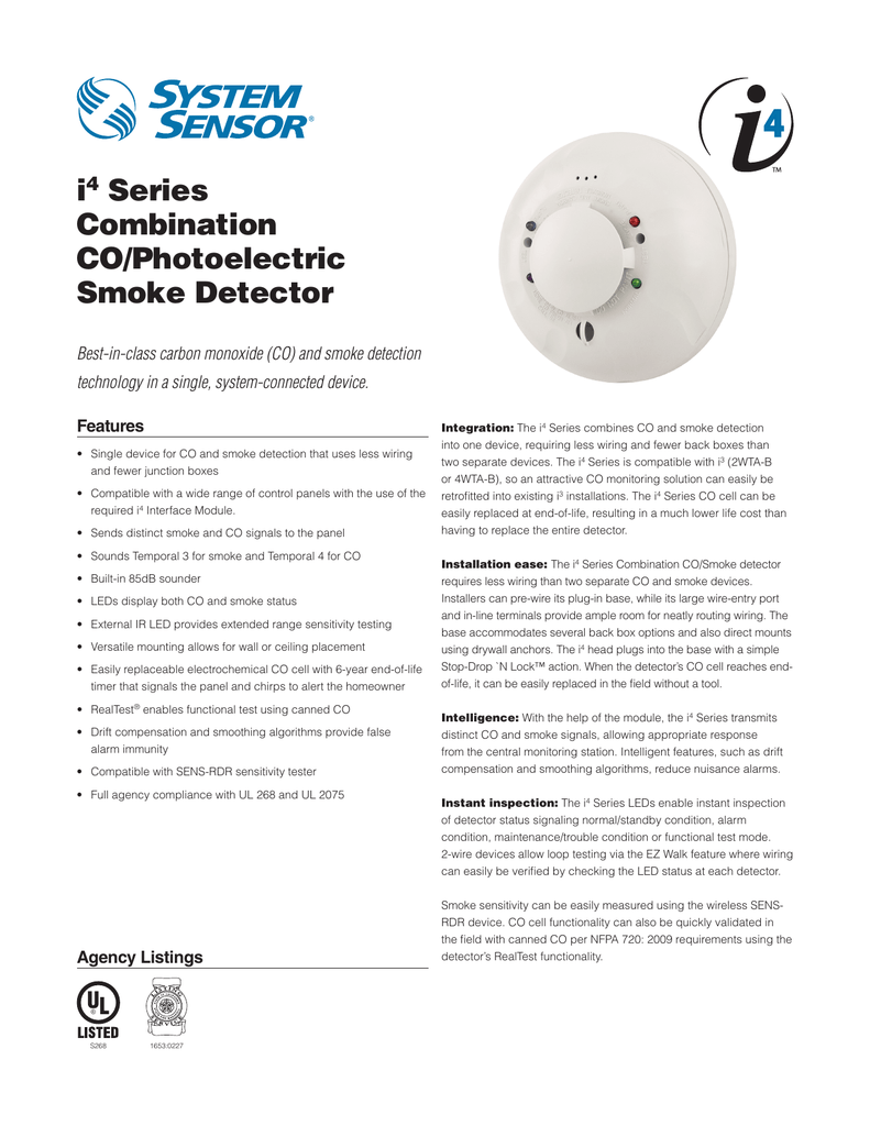 I4 Series Combination Co Photoelectric Smoke Detector 2wire Wiring