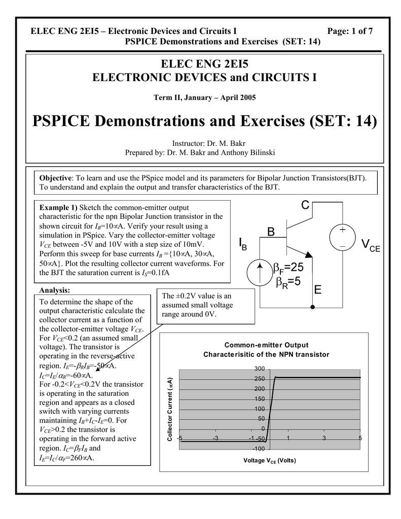 PSPICE Demonstrations and Exercises (SET: 14)