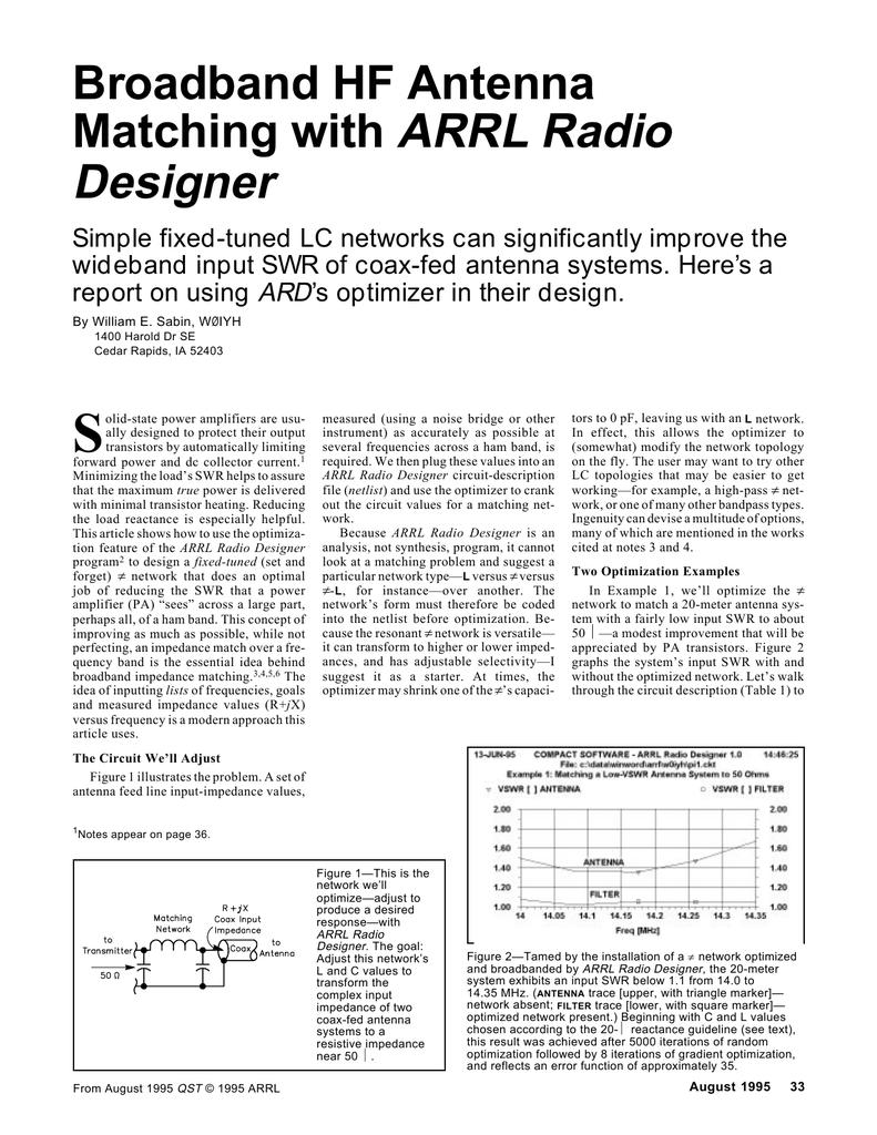 Broadband HF Antenna Matching with ARRL Radio Designer