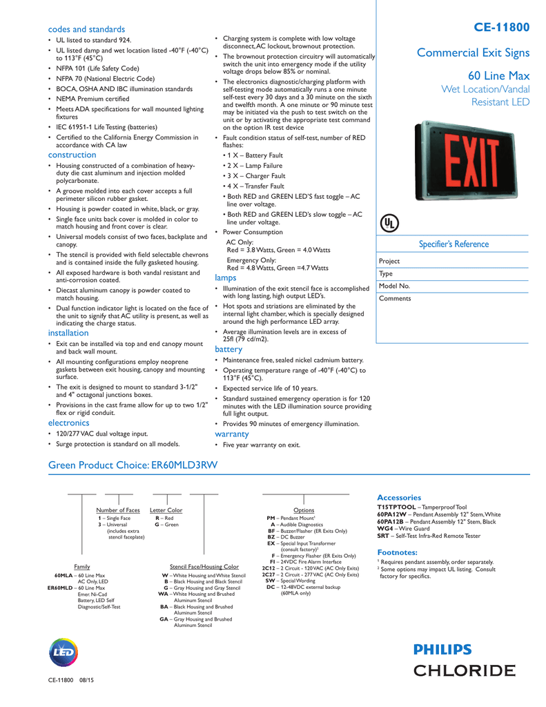 Commercial Exit Signs 60 Line Max CE-11800