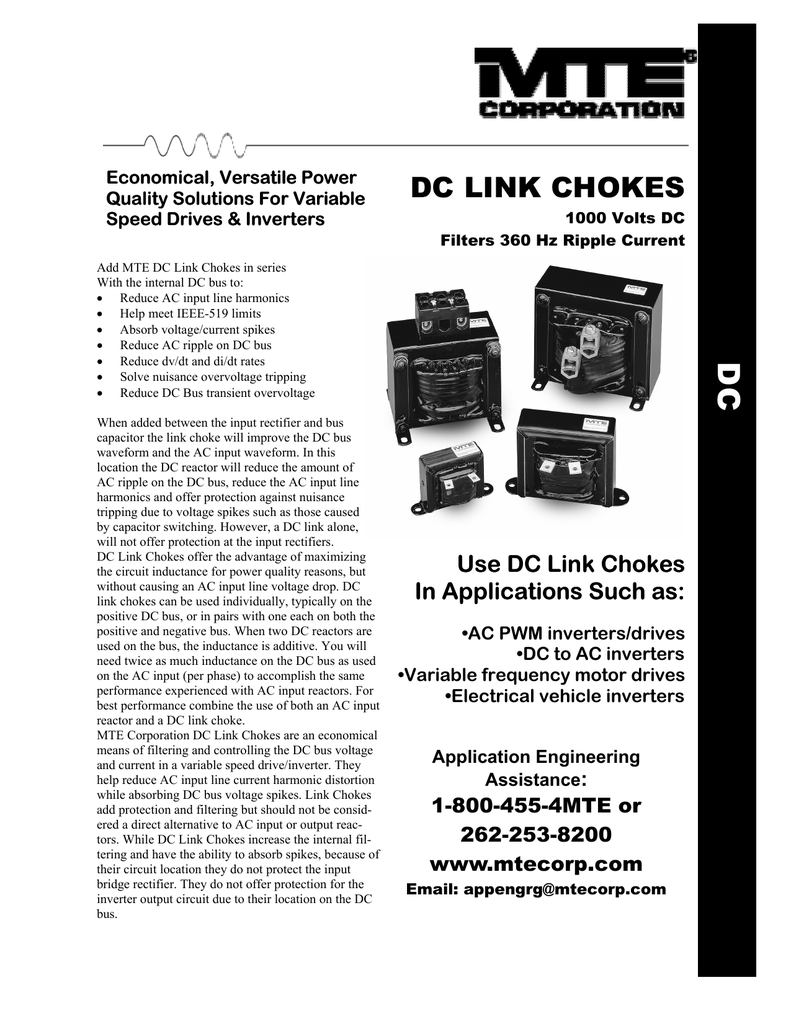 dc link chokes - MTE Corporation