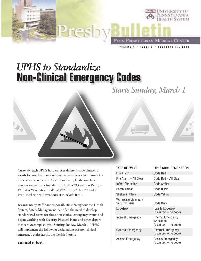 Non-Clinical Emergency Codes
