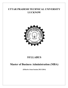 SYLLABUS Master of Business Administration (MBA)